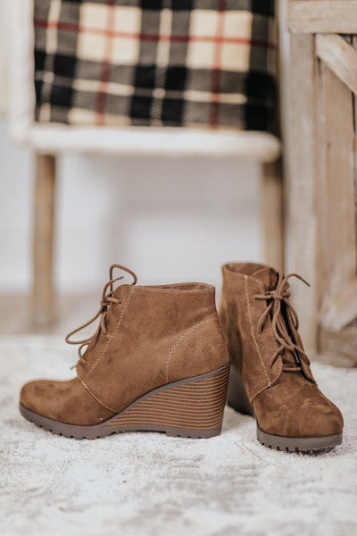 Forever Yours Lace Up Booties Wedge in Brown - Filly Flair