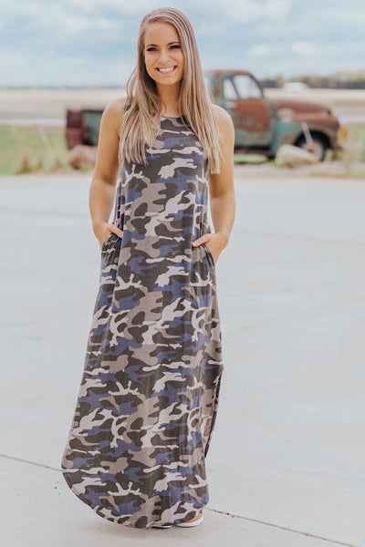The Last Goodbye Camouflage Sleeveless Maxi Dress in Dusty Olive - Filly Flair