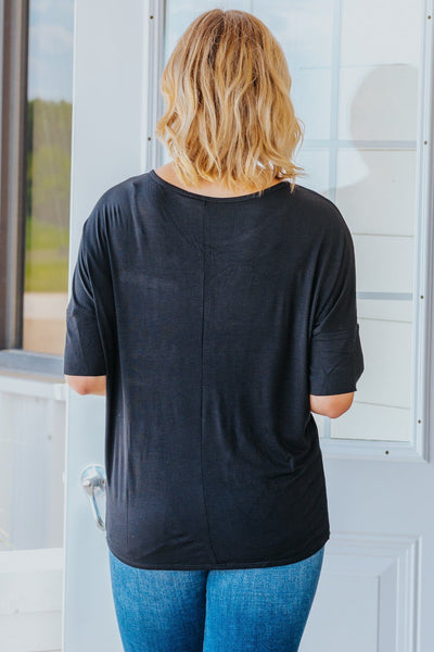Like A Hurricane Wide Cuff Dolman Top in Black - Filly Flair