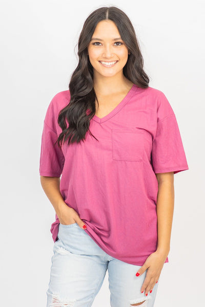 Basic and Simple V Neck Tee in Mauve - Filly Flair