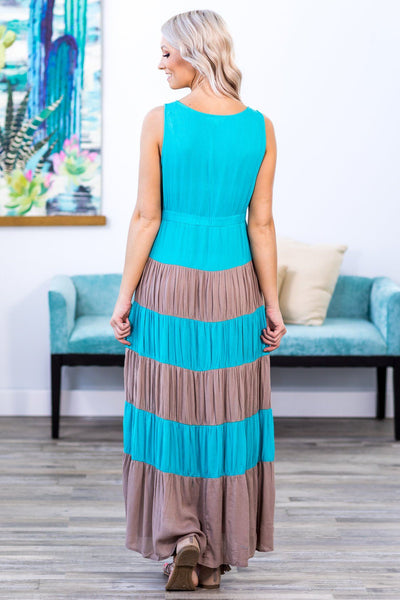 Free and Easy Color Block Sleeveless Maxi Dress in Tan and Blue - Filly Flair