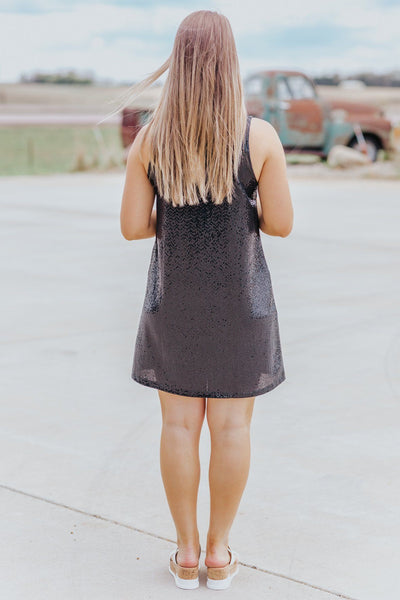 Holiday Fever Sequin Sleeveless Mini Dress in Black - Filly Flair