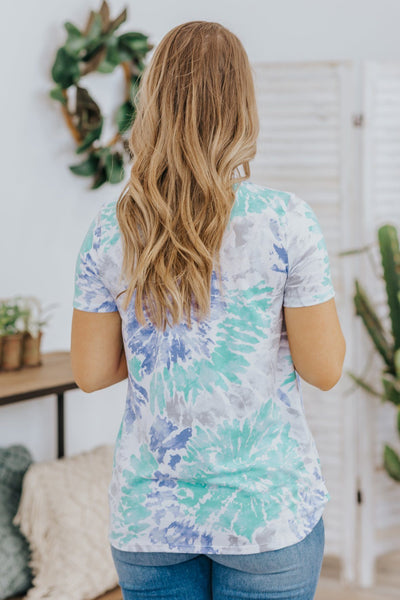 Welcome Sunshine Tie Dye Twisted Front Short Sleeve Top in Mint - Filly Flair