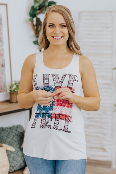 """LIVE FREE"" Printed Racerback Tank Top in Ivory - Filly Flair"