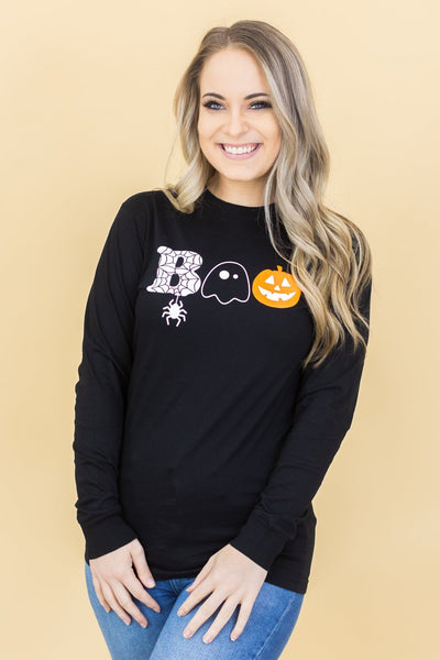 """BOO"" Graphic Long Sleeve Top in Black - Filly Flair"