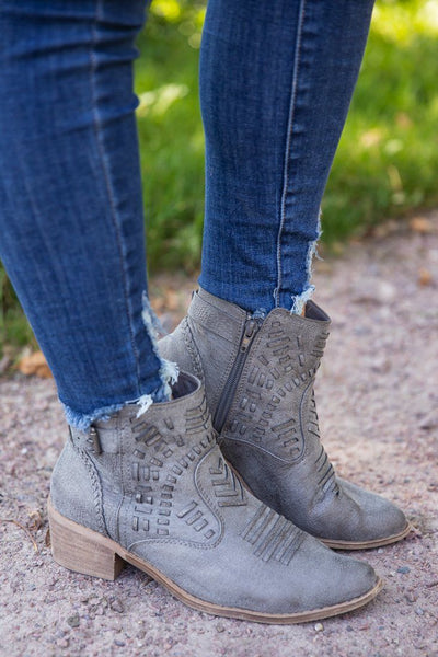 Last Call Whip Stitching Booties in Grey - Filly Flair