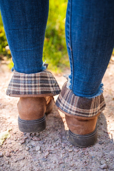 Colonel Sanders Plaid Detail Lace Up Booties in Tan - Filly Flair