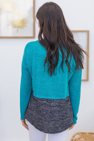 The Way You Shine Color Block Button Detail Long Sleeve Top in Jade - Filly Flair