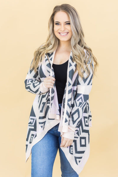 Never Be Alone Printed Cardigan in Pink - Filly Flair