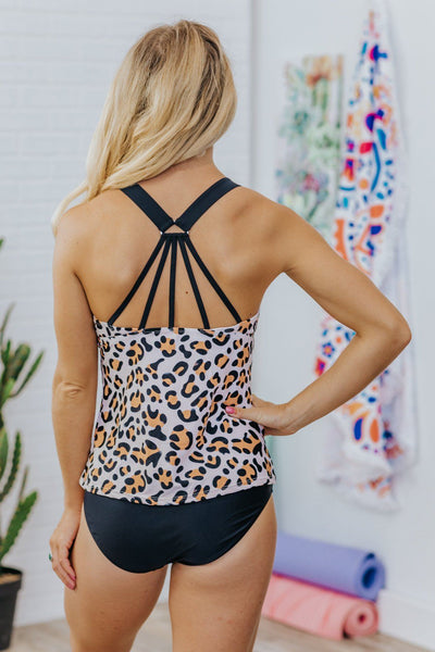 Your Lovin' Changes Me Leopard Print Swim Top in Peach - Filly Flair