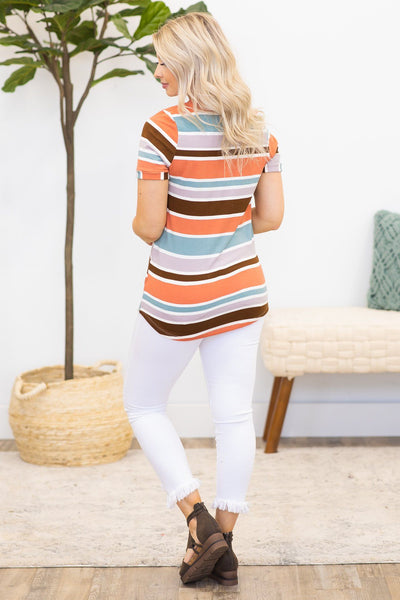 Dang Girl Striped Short Sleeve Top in Rust - Filly Flair