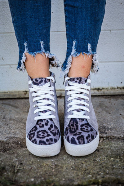 Let's Go Crazy Sueded Leopard Printed Wedge Sneakers in Grey - Filly Flair
