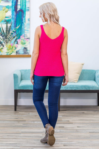 Hold You In My Heart Knit V-Neck Tank Top in Hot Pink - Filly Flair