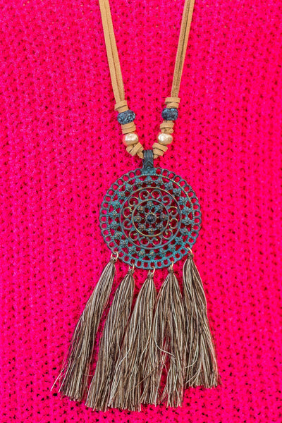 Boho Mandala Flower Pendant With Tassels Long Tan Necklace - Filly Flair