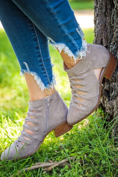 Talking About Weekend Plans Suede Cut Out Booties in Taupe - Filly Flair