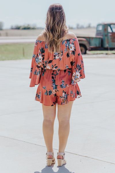 Taking On The Town Floral Bell Sleeve Romper in Mauve - Filly Flair