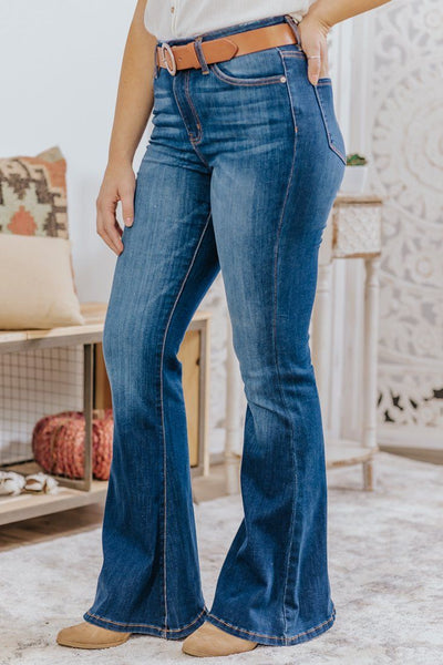Kan Can Ashley Dark Wash High Rise Super Flare Jeans - Filly Flair