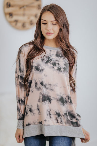 Making Sudden Stops Tie Dye Long Sleeve Top in Blush - Filly Flair