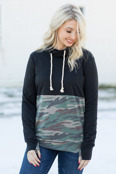 Feelings Are For Real Long Sleeve Top With Cowl Neck In Black and Camouflage - Filly Flair