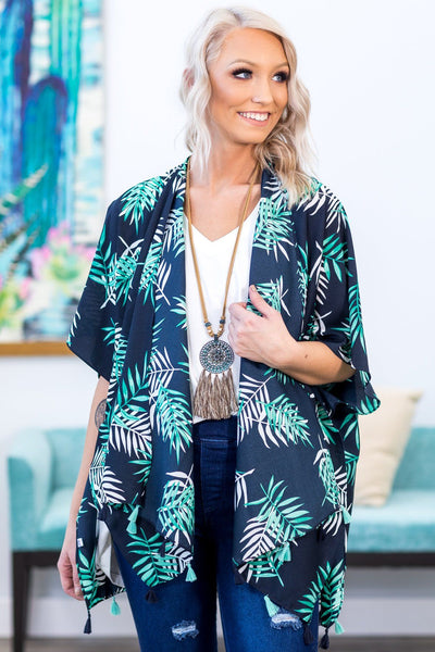 Paradise Found Tropical Leaf Tassel Kimono in Navy - Filly Flair