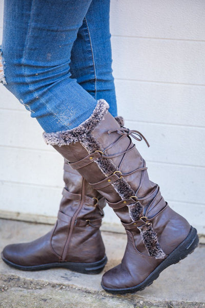 Staying Warm For Days Tall Laced Up Fur Boots in Dark Brown - Filly Flair