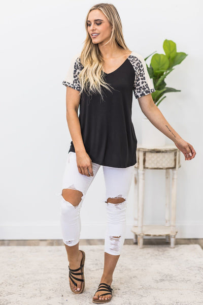 Pleasant Surprise Color Block Top In Black - Filly Flair