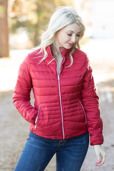 Keeping Warm Zip up Jacket in Red - Filly Flair