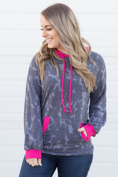 Queens Don't Hate Camouflage Hoodie In Charcoal And Fuchsia - Filly Flair