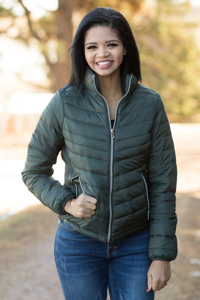 Blow My Mind Quilted Puff Jacket In Olive Green - Filly Flair