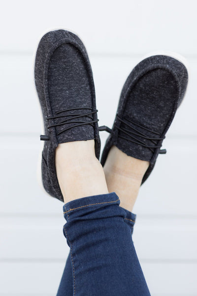 Take It On The Run Casual Slide On Shoes in Black - Filly Flair
