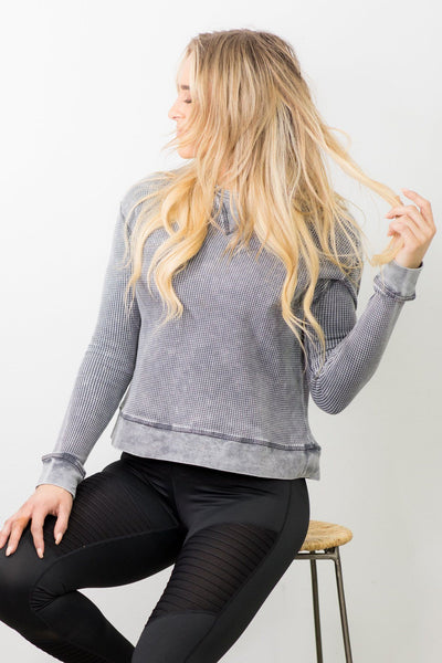 You Got Style Round Neck Long Sleeve Top in Grey - Filly Flair