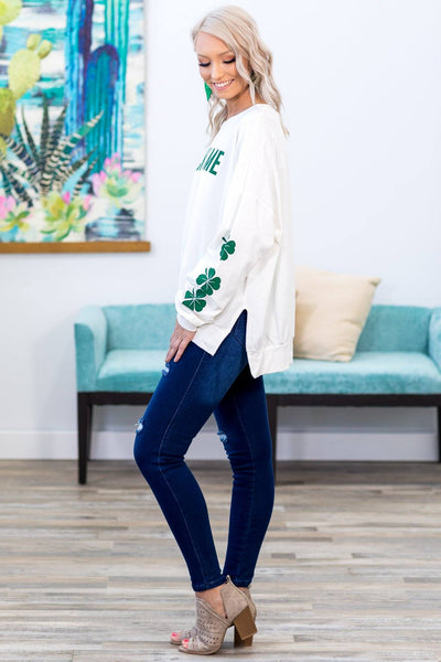 "#ST4# ""Lucky Me"" Long Clover Sleeve Top in White - Filly Flair"