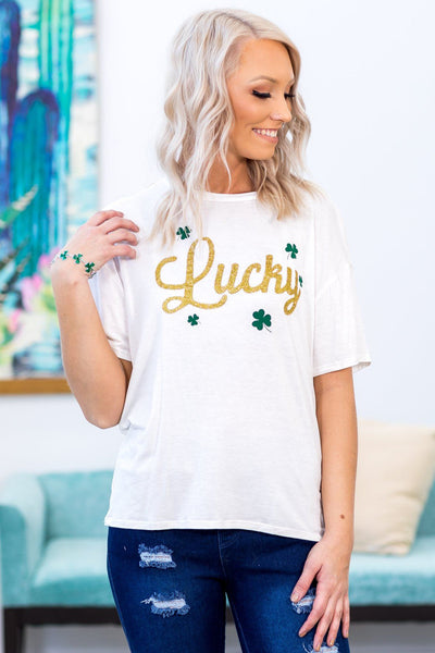 "#ST4# ""Lucky"" Clover Tee in White - Filly Flair"