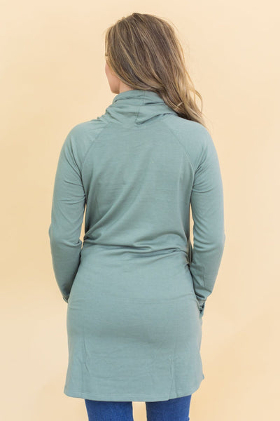 The Best Of Me Cowl Neck Tunic in Light Olive - Filly Flair
