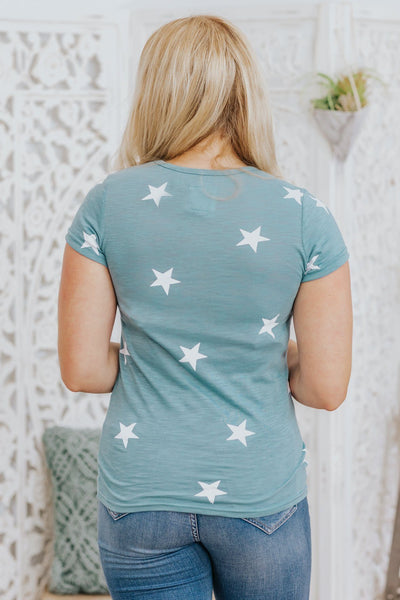 Free To Be Me Star Detail Short Sleeve Top in Cyan - Filly Flair