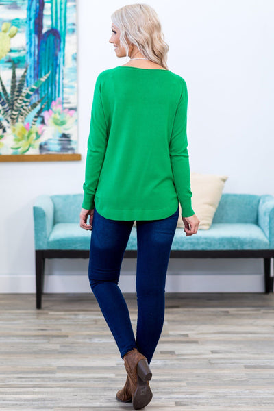 Fall For You Long Sleeve Sweater in Kelly Green - Filly Flair