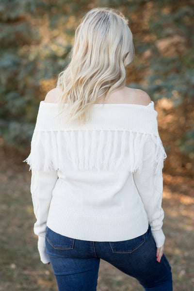 Make It Work Off The Shoulder Sweater In Ivory - Filly Flair