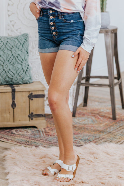 Kirsten Kan Can Dark Wash High Rise Five Button Distressed Cuffed Denim Shorts - Filly Flair