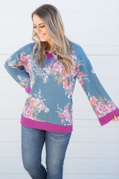 You're The Only One For Me Floral Print V-Neck Long Sleeve Top in Coral - Filly Flair