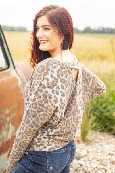 Meet in the Middle Leopard Print Dolman Top in Brown - Filly Flair