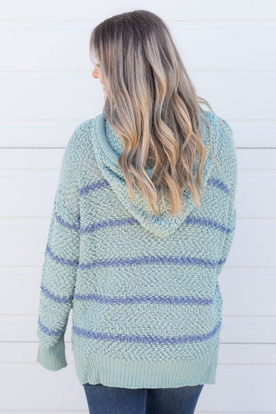 Spread The Love Striped V-Neck Long Sleeve top in Mint - Filly Flair