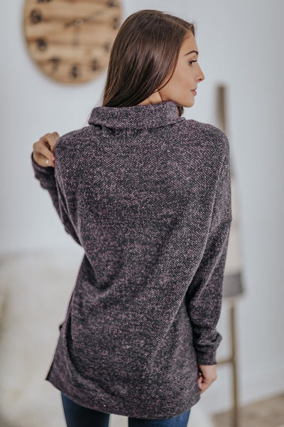 Hear It In The Silence Knit Cowl Neck Side Slit Long Sleeve Top in Eggplant - Filly Flair