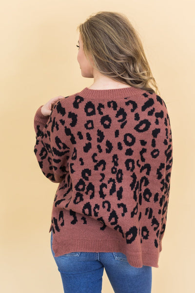 Don't Stop Moving Forward Animal Print Sweater In Dark Mauve - Filly Flair