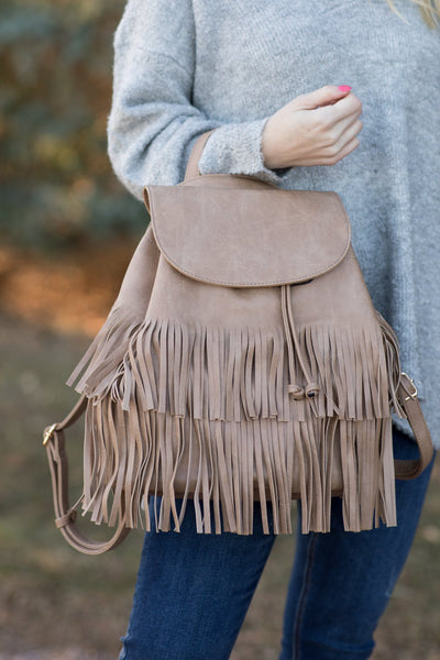 Changing It Up Fringe Detail Backpack Purse in Stone - Filly Flair