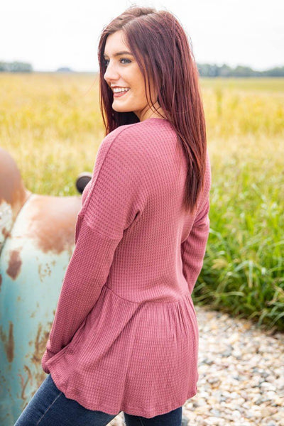 Always Love Hard Waffle Long Sleeve Button Top in Marsala - Filly Flair