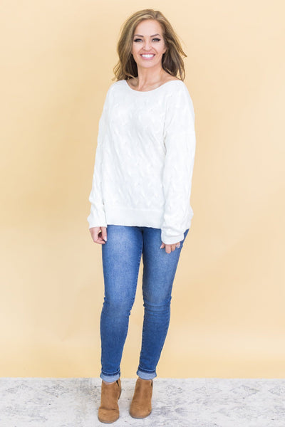 Romantic Cozy Evenings Ivory Knit Sweater - Filly Flair
