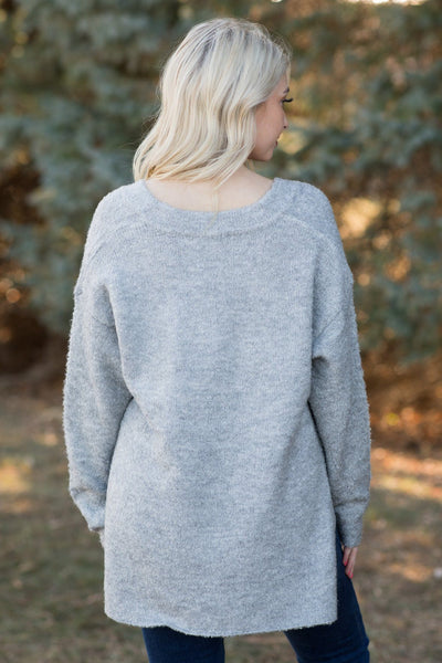 Dancing in the Middle Of The Night Long Sleeve Top in Heather Grey - Filly Flair