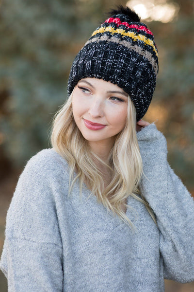 Be A Queen Striped Stocking Cap With Black Pom Pom - Filly Flair