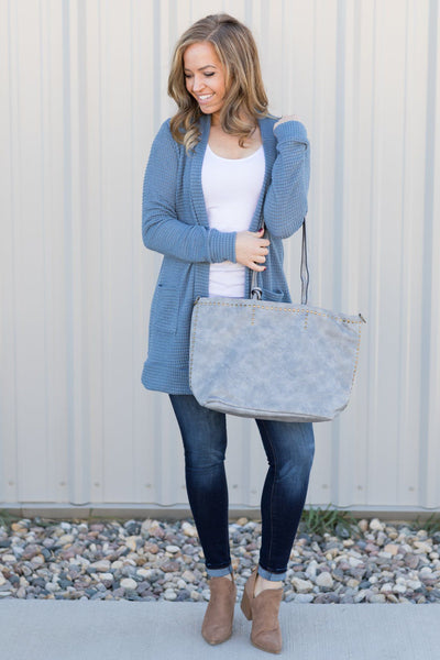 Come With Me Purse in Grey Blue - Filly Flair