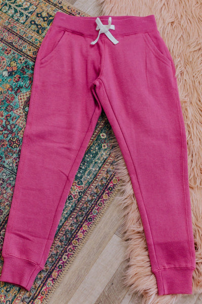 KIDS: Be You Elastic Waist Basic Jogger in Begonia Pink - Filly Flair